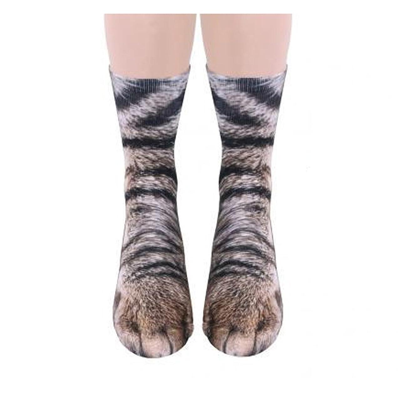 悪魔延ばす勤勉なユニセックスアダルト かわいい猫 キティ 足ソックス、 動物の足3Dシミュレーション印刷クルーソックス、1組