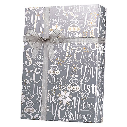 Metallic Gold Silver Scripted Holiday Wrapping Paper - 15 Foot Roll