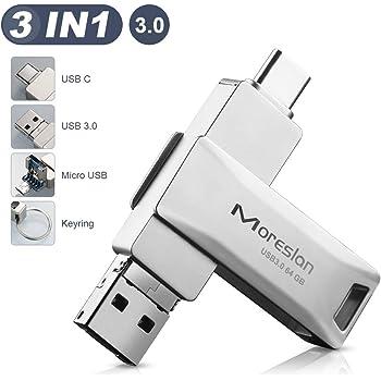 Pendrive 64 GB, Memoria USB 3.0 3 en 1 Pen Drive Tipo C USB 3.0 ...
