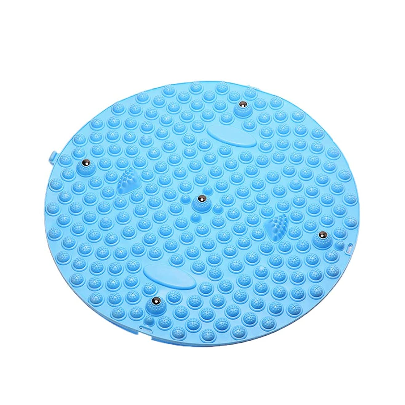ZHWNGXO フットマッサージクッションドアマット磁気ストーンデザイン丸型強い支持力該当するもの屋外フィットネスヨガ (Color : Blue)