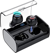 Bluetooth 5.0 True Wireless Earbuds Headphone Headsets - IPX7 Waterproof Stereo Earphones with Premium HiFi Sound Noise Canceling for Trucker Driver 90H Playtime + 2200mAh Charging Case Built-in Mic