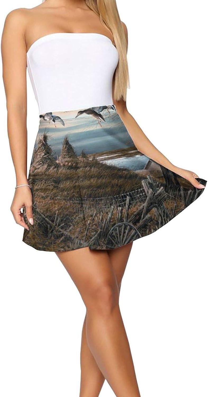 RHRFOL October Evening Redlin Women's Basic Versatile Stretchy Flared Casual Mini Skater Skirt