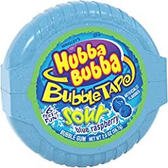Contains six 2-ounce packs of HUBBA BUBBA Sour Blue Raspberry Bubble Gum Tape Sour Blue Raspberry bubble gum with a big sour blue raspberry taste. 6 feet of fun with bubble-gum tape. The perfect gum for challenging friends to bubble-blowing contests....
