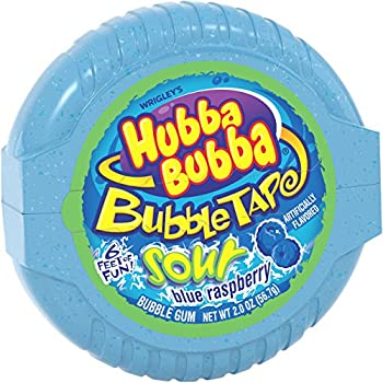HUBBA BUBBA Sour Blue Raspberry Bubble Chewing Gum Tape 2 ounce  6 Pack