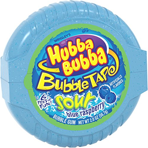 HUBBA BUBBA Sour Blue Raspberry Bubble Chewing Gum Tape, 2 ounce (6 Pack)