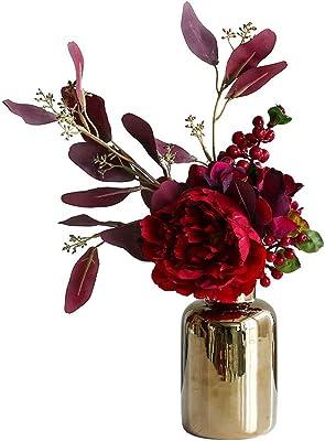 6x cabezas de flores artificiales Borgoña Peonía ocasiones Boda Fiesta Decoración del hogar