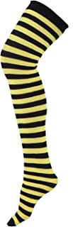 HDE Women's Plus Size Striped Stockings Thigh High Over the Knee OTK Sheer Nylons (Black Yellow Stripes)
