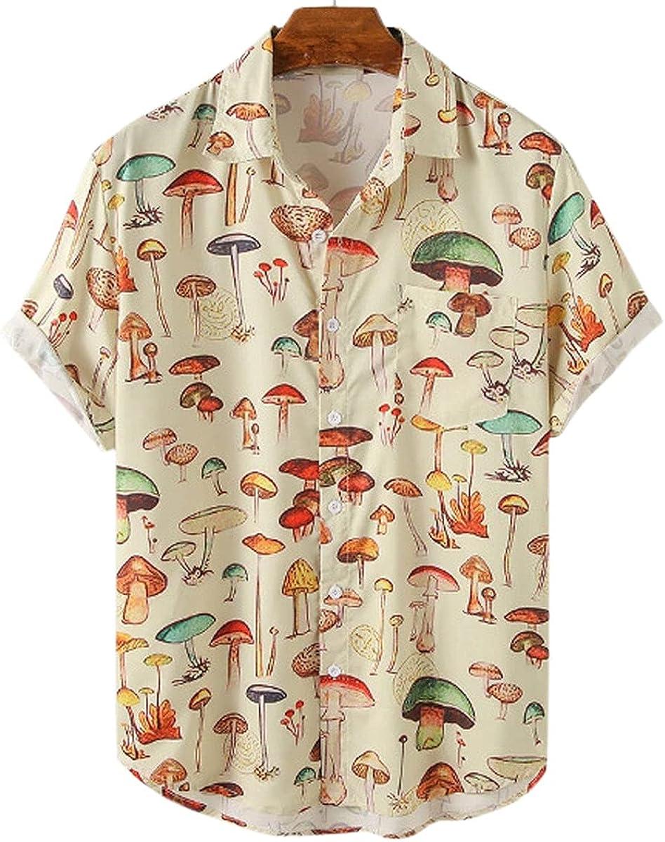 PAODIKUAI Men's Printed Shirt Button Down Short Sleeve Cute Mushroom Hawaiian Shirt