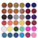 QIMEIYA 48 colores polvo para uñas purpurina brill...
