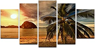 Wall Art Paintings, TYG HD Canvas Prints Sunset Beach Coconut Trees Landscape Posters Home Scenes Decor for Bedroom/Living Room Framed and Ready to Hang 5 PCS