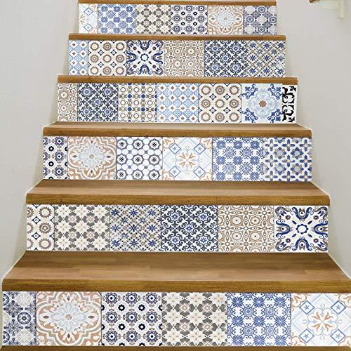 Pegatinas de escaleras Pegatinas de escalera de baldosas de cerámica de estilo árabe 6 piezas de decoración de pasos de pasillo personalizada pegatinas de pared de piso pinturas decorativas
