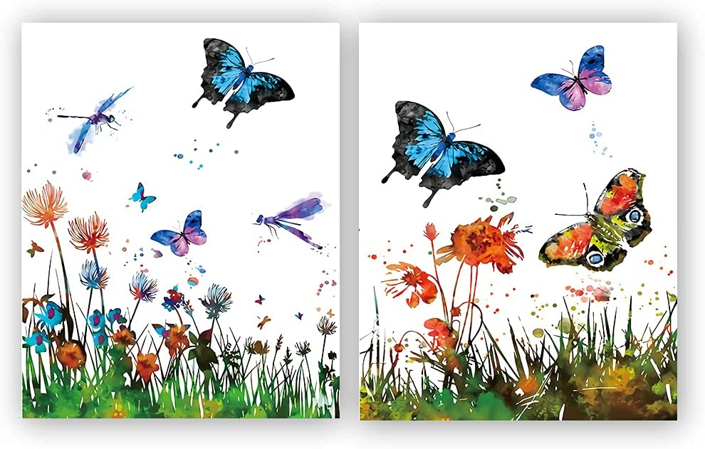 """Set of 2 Flower and butterfly print, floral wall art, butterfly poster, nature art, flower print, butterfly print, garden, dragonfly For Girls Bedroom Nursery Home Decor,Gift.(Unframed,8""""X10""""Inches)."""