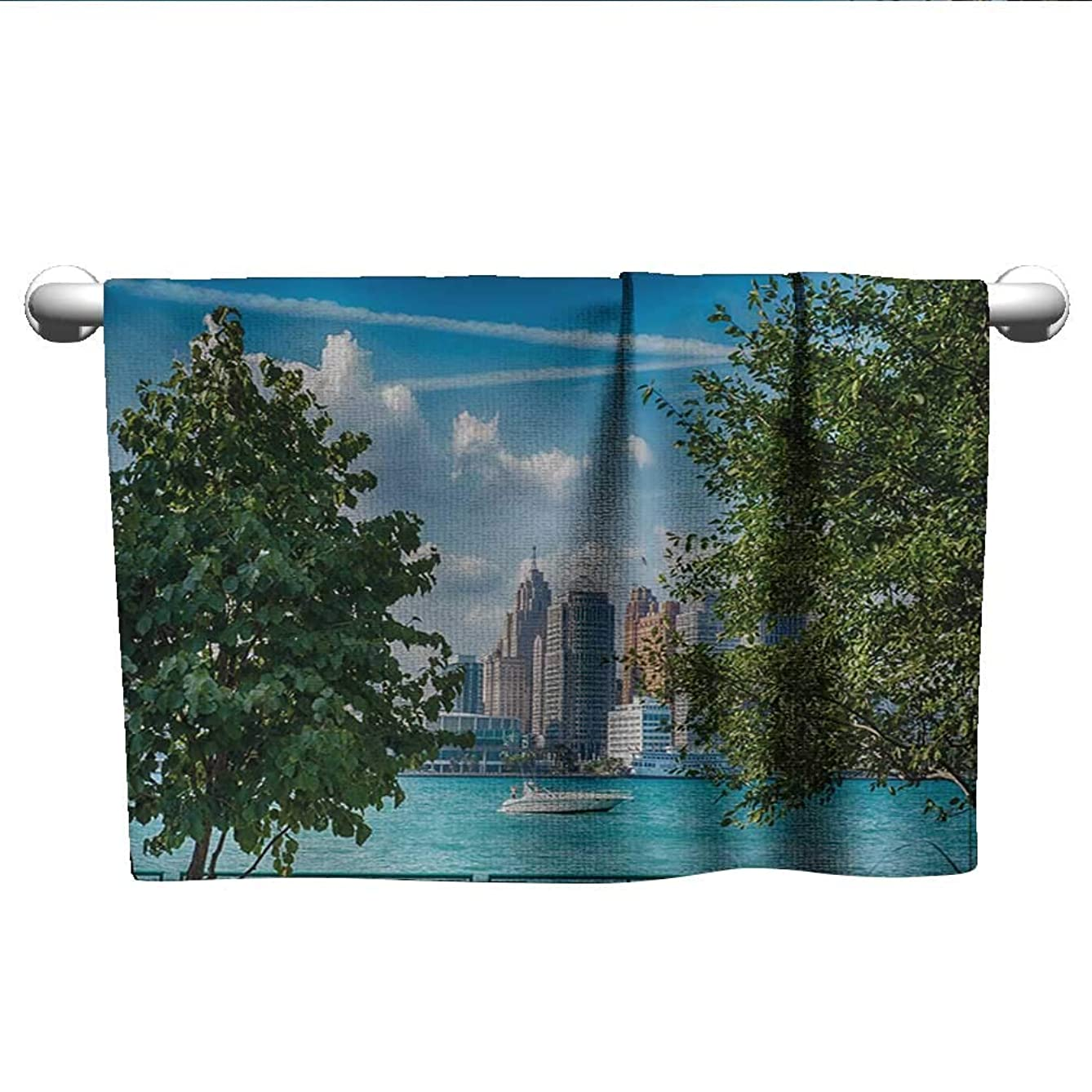 Detroit,Kids Bath Towels Detroit Sightseeing on a Summer Afternoon Modern Architecture River and Boat Quick Dry Towel Green Blue Aqua W 10