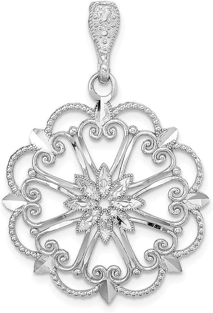 Sale price 14K White Gold Starbust Heart Diamond Cut wholesale Scallop Beaded Edge Ch