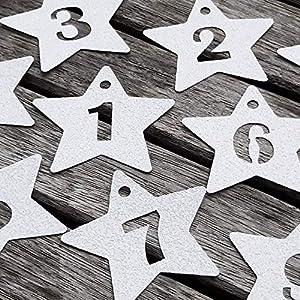 24 Adventskalender Zahlen Anhänger Adventskalenderzahlen Sterne GLITTER Weiß Adventskalender-Zahlen 1-24 Countdown…