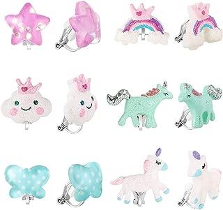 PinkSheep Bling Clip On Earrings for Little Girls, Unicorn Earrings Rainbow Earrings for Kids, 6 Pairs, Best Gift