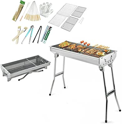 Barbecue Charcoal Grill Set, Portable Stainless Steel Folding Charcoal Kabob Grill, Large Kabob BBQ Grills for Outdoor Grilling Cooking Camping Hiking Picnics Patio Backyard, Non-Stick Frying Pan