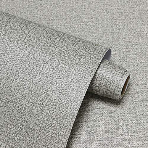 Graue Leinen Muster Tapete Selbstklebende Peel und Stick Kontakt Papier Grau Leinen Wasserdichte Tapete Selbsthaften Als Küche Schlafzimmer Wohnzimmer Vinyl Papier Tapete 40X300cm