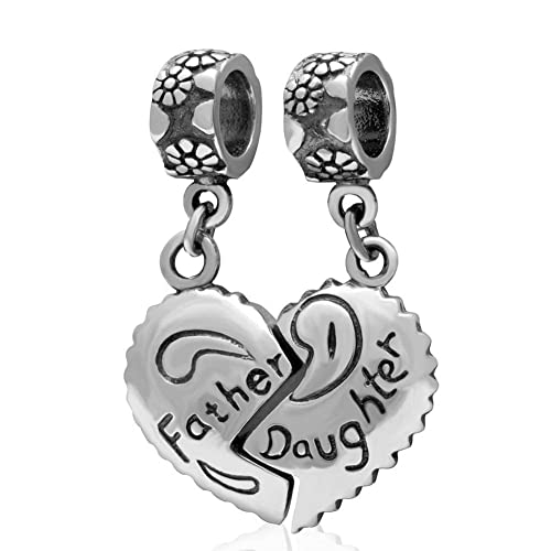 92018210b Soulbead Father Daughter Heart Charms Genuine 925 Sterling Silver Dangle  Bead for Dad Gifts fit Major