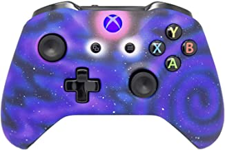 Hand Airbrushed Fade Xbox One Custom Controller Compatible with Xbox One (Matte Space W/Blue LED)