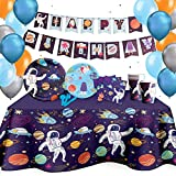 Space Party Decorations & Birthday Supplies (16 Guests) - Outer Space Party with Colorful Planet Design | Includes Banner, Balloons, Jumbo Tablecloth, Plates & Disposable Tableware Bundle