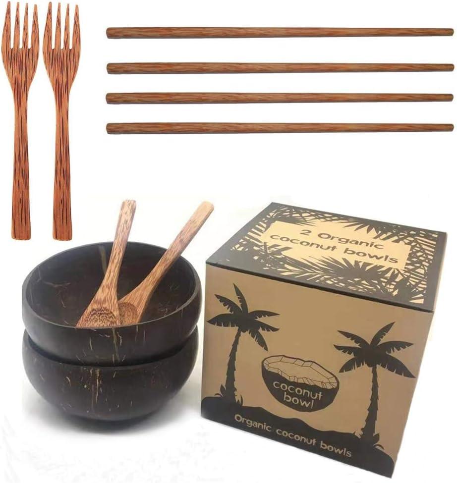 Coconut Bowl Set Bowl Coco y Cuchara Palillos Bol de Coco Cubiertos Madera Hecho a Mano Bowls Desayuno Naturales Cuenco Decorativo Ensaladera Vegane Buda Bowl para Helado Cereales Fruta Yogurt
