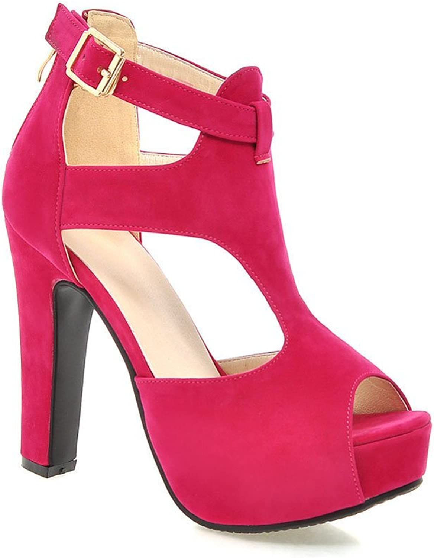 Lucksender Womens Peep Toe High Heel Back Zip Summer Sandals