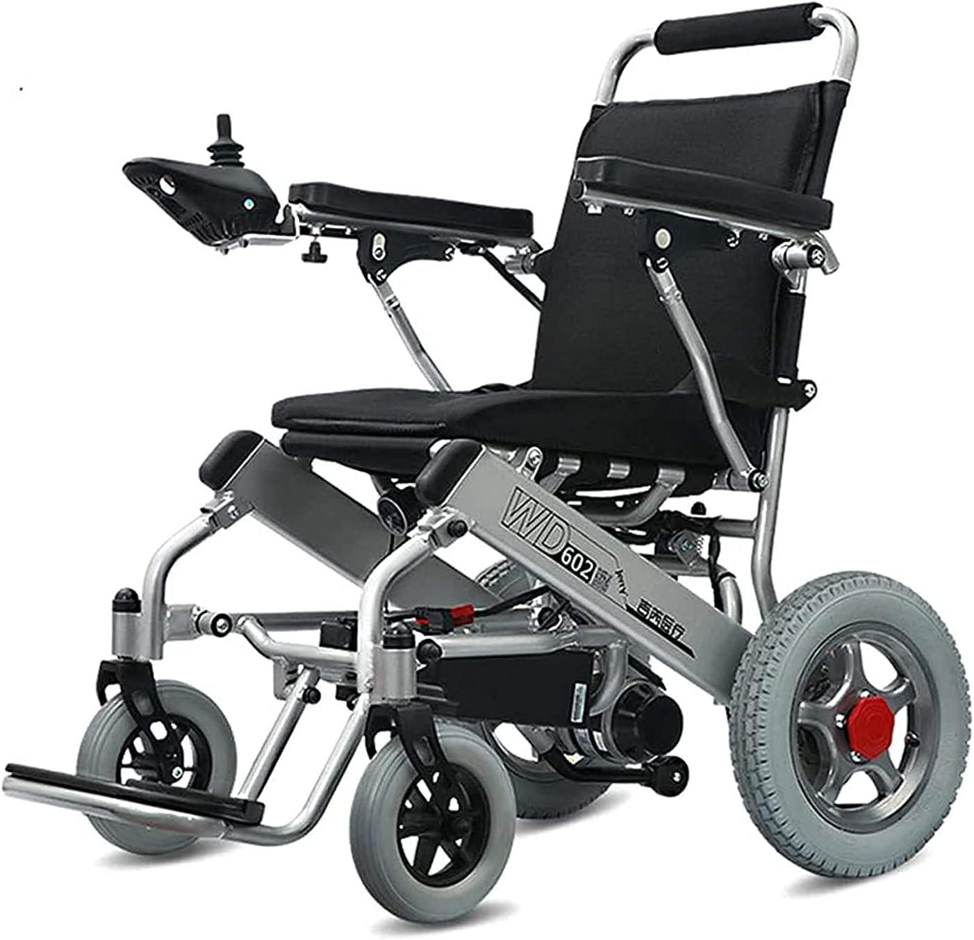SLRMKK Silla de Ruedas eléctrica motorizada portátil, Plegable, Ligera, de Doble Motor, Resistente a la Intemperie, Segura para Viajes