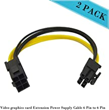 6 Pin PCIe Extension Cable PCIe 6 Pin to PCIe 6 Pin Extension Power Supply Cable 7.9 inches 18 AWG (20cm & 2Pack)
