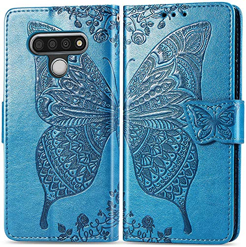 MEUPZZK Wallet Case for LG Stylo 6, Embossed Flower Butterfly Premium PU Leather [Folio Flip] [Kickstand] [Card Slots] [Wrist Strap] [6.8 inch] Cover for LG Stylo 6 (A-Blue)