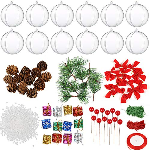 Auihiay 12 Pack 80mm Clear Ornaments Balls Plastic Fillable Christmas Ornaments for Christmas and Wedding Party Decorations