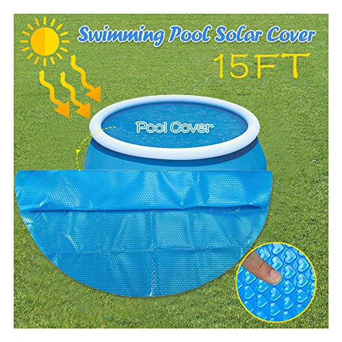 WAFamily Round Solar Pool Cover Solar Cover Heating Blanket Grommets Bundle for In-Ground and Above-Ground Round Swimming Pools Place Bubble-Side Down in Pool Solar Blanket Pool Mate (15ft)