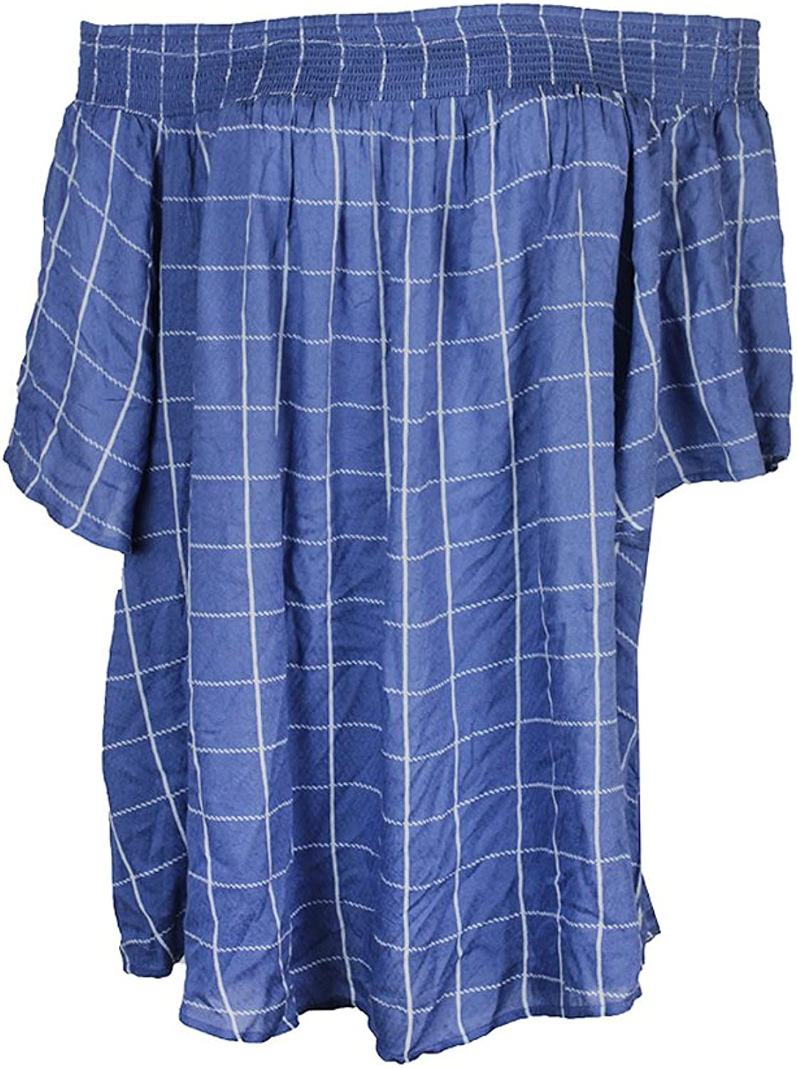 Style & Co. Womens Checkered Off The Shoulder Casual Top bluee 1X