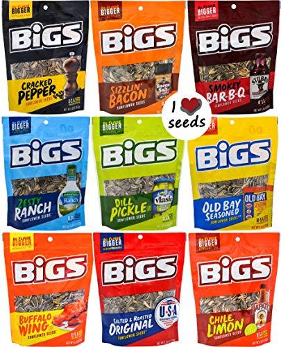 Bigs Sunflower Seed Flavor Variety Pack 9 bags (5.35oz each) with Bonus Magnet