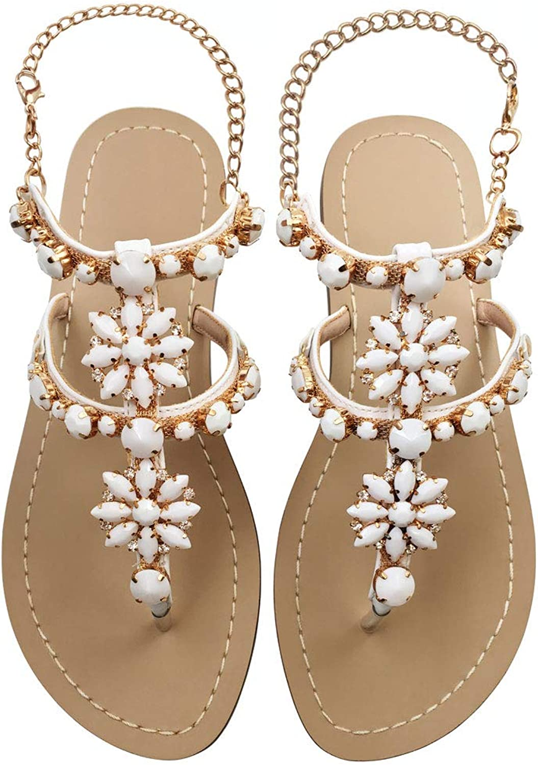 JF shoes Women's Crystal with Rhinestone Bohemia Flip Flops Summer Beach T-Strap Flat Sandals Size 12 White