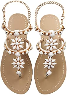 b4261e24f JF shoes Women s Crystal with Rhinestone Bohemia Flip Flops Summer Beach  T-Strap Flat Sandals