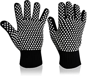 KouTouy BBQ Grilling Gloves 1472°F Heat Resistant Gloves,Kitchen Food Grade Silicone Non-Slip Oven Mitt with Fireproof Designed, Grill Glovesfor Smoker, Baking, Cooking, Turkey Frye (1 Pair)