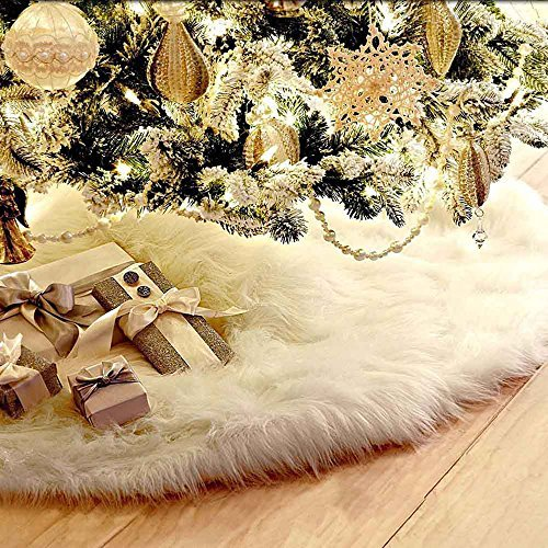 Fannybuy 36inch Christmas Tree Skirts Plush Faux Fur Tree Skirt Decoration for Xmas Party Decoration