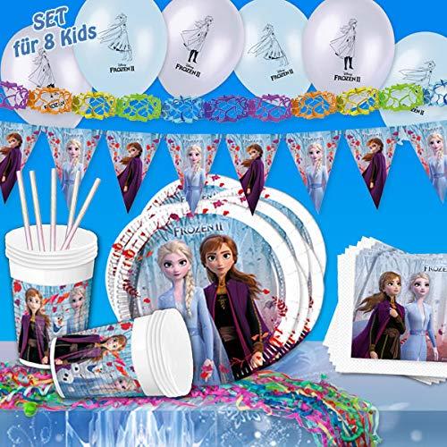 Juego de fiesta de Frozen 2, 57 piezas, juego de cumpleaños con Anna, Elsa y Olaf, decoración de mesa con vajilla, servilletas y pajitas, decoración de habitación con guirnaldas y globos