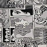 Panini Tessuti, Tela mixta algodón cómic blanco y negro – Se vende por medio metro, ancho fijo 140 cm; 1 qda = 50 cm; 2 unidades = 100 cm – Decoración para sillas, sofás, bricolaje