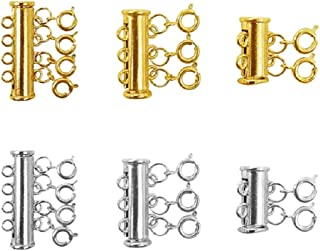 3 Sizes Slide Tube Lock Necklace Spacer Clasp Multi Strands Magnetic Tube Lock Necklaces Bracelet Connectors for Jewelry, ...