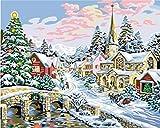 Bricolaje decoración del hogar de la lona digital de la pintura al óleo por el número de kits Feliz Navidad 16 * 20 pulgadas.