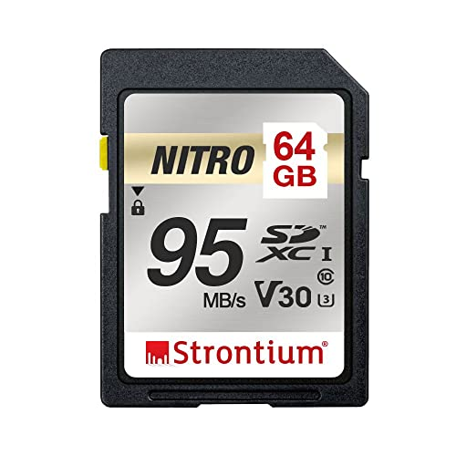 Strontium Nitro 64GB SD SDXC UHS-I U3 V30 Class 10 Flash Memory Card (SRN64GSDU3QR)