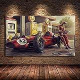 QZROOM Vintage Auto Poster Classic Racing Rennwagen Artwork