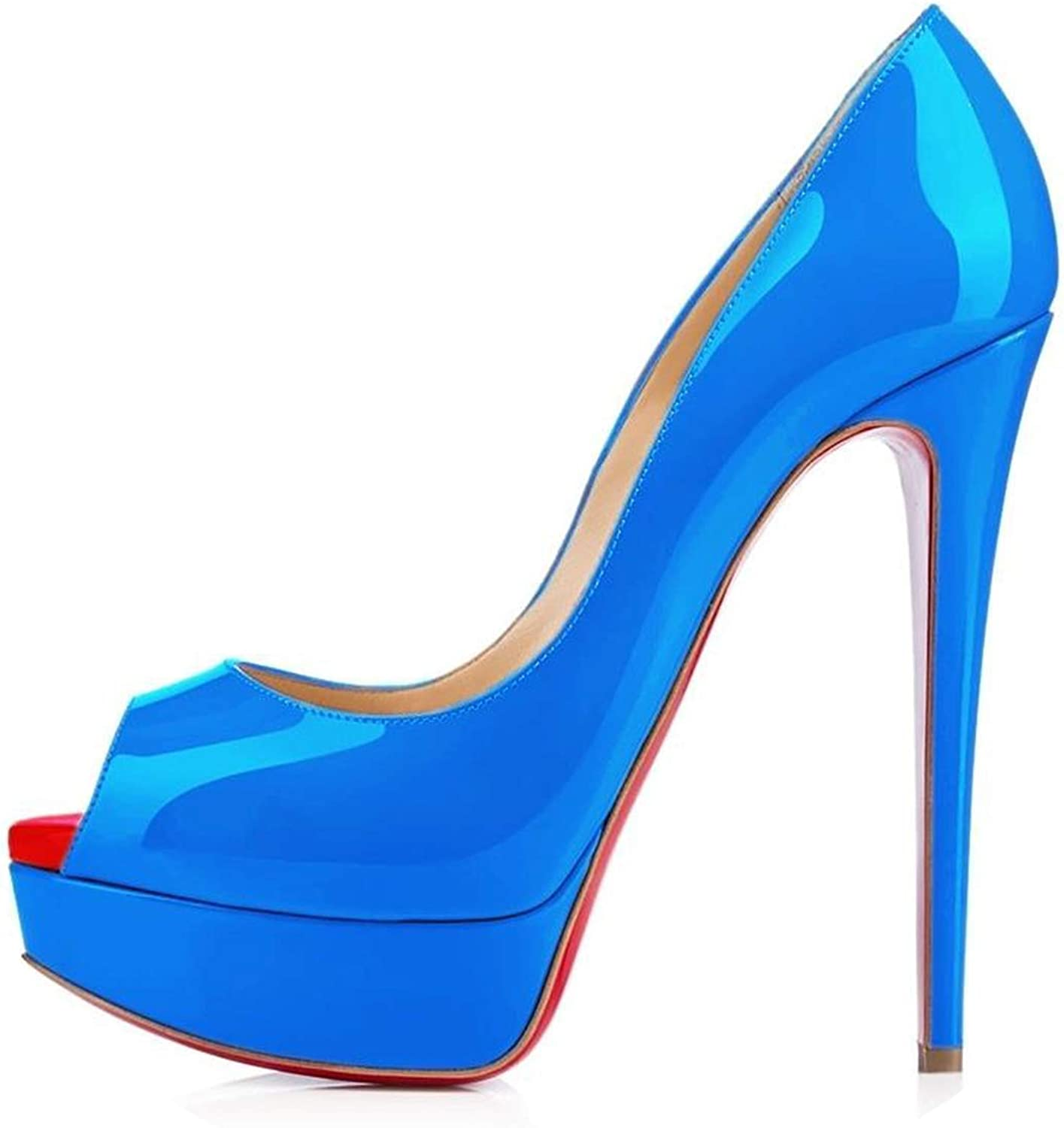 LAIGEDANZI Womens Pumps Leather Wedges Platform Stiletto High Heels Open Toe Sexy Party shoes,bluee,5