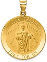 14K Yellow Gold Polished and Satin St. Jude Thaddeus Medal Pendant