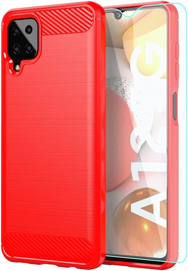Samsung A12 Case,Galaxy A12 Case,with HD Screen Protector,Shock-Absorption Flexible TPU Bumper Cove Soft Rubber Protective Case for Samsung Galaxy A12 (Red Brushed TPU)