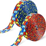 Boao 50 Yards Autism Awareness Fabric Ribbon 7/8 Inch Puzzle Piece Print Wired Ribbon Autism Grosgrain Ribbon for DIY Hair Bow Supplies, Gift Wrapping, Party Decoration, Craft Projects
