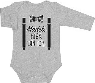 Shirtgeil Mädels, Hier Bin Ich! - Geschenk für Neugeborene Baby Langarm Body
