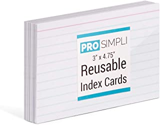 ProSimpli Reusable Index Cards for Dry Erase and Wet Erase Markers - White, Thick, 100% Vinyl Plastic, Ruled on One Side, 20 per pack
